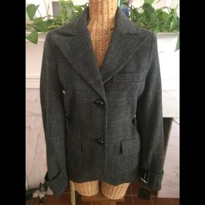 NEW Black Rivet Plaid Wool Blend Blazer Jacket